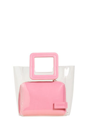 Staud Pink Shirley leather PVC tote