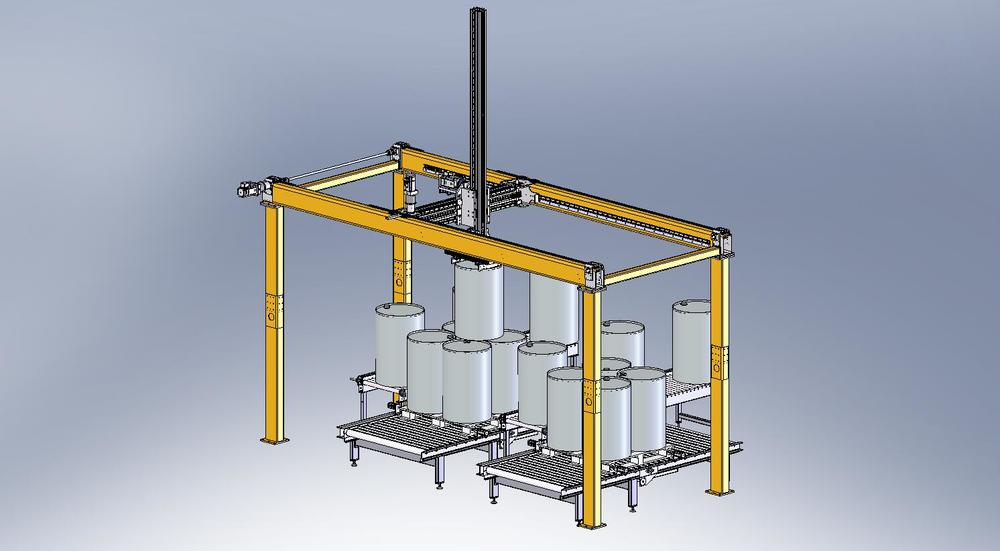 Heavy-weight palletizer for drums upto 500kg