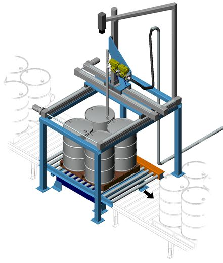 Automatic drum filler with vision camera to detect position of bunghole