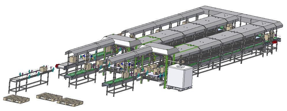 Scheme of a recently realized filling line for cocoa and butter.