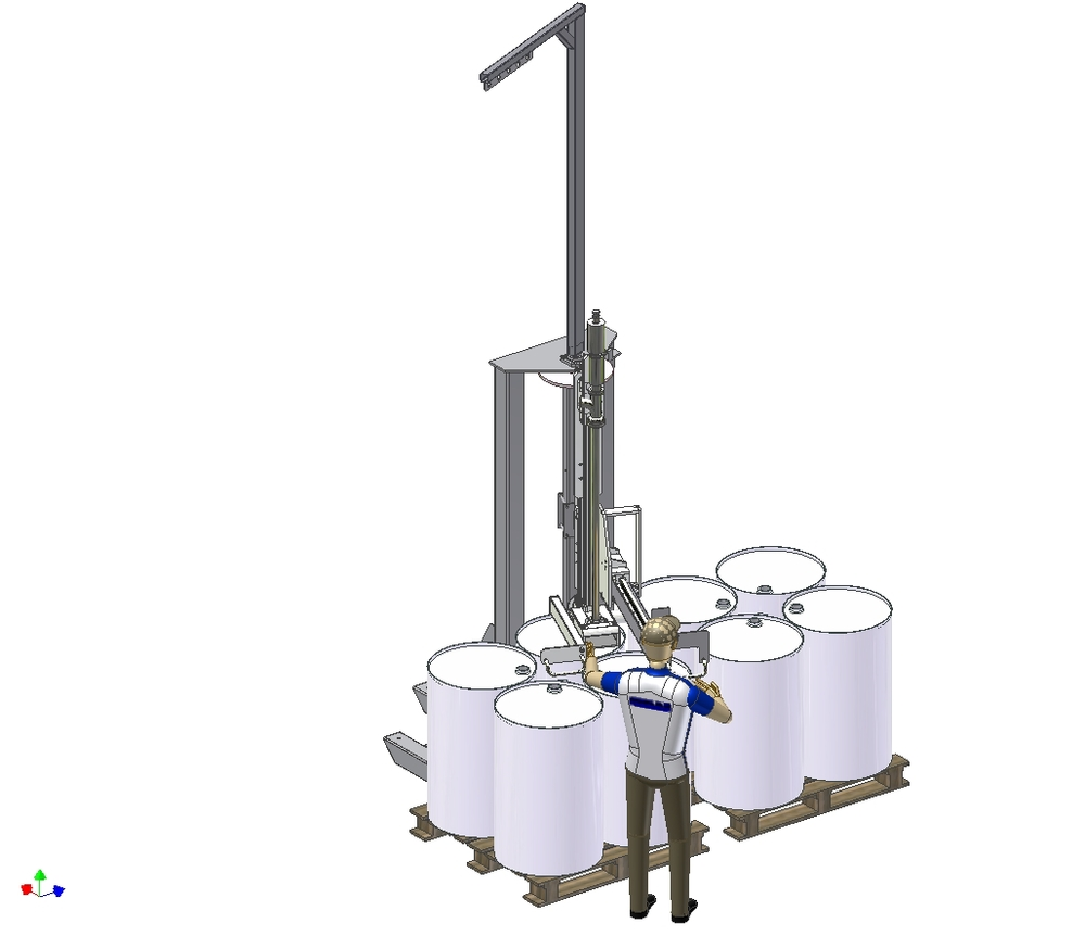 Semi-automatic bottom up pallet filler for drums & IBC's