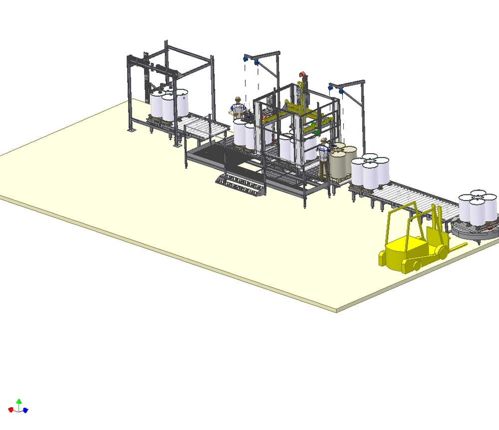 Automatic drum filling line with palletizers and vision camera