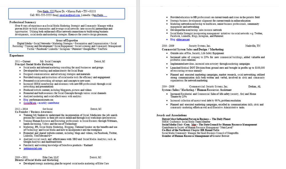 marketing resume makeover before after careercloud