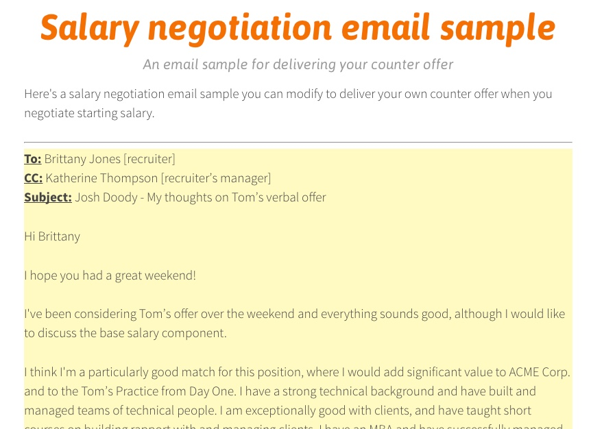 Salary negotiation email sample counter offer letter mandegarfo salary negotiation email sample counter offer letter altavistaventures Image collections