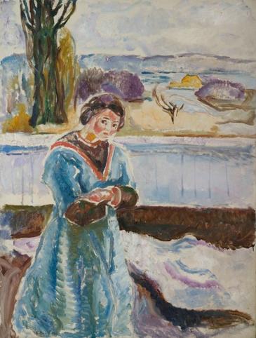 Stående kvinne med korslagte armer