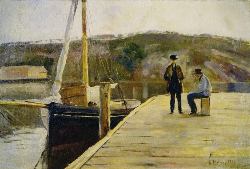 På bryggen. 1888. Malt fra Vikene.