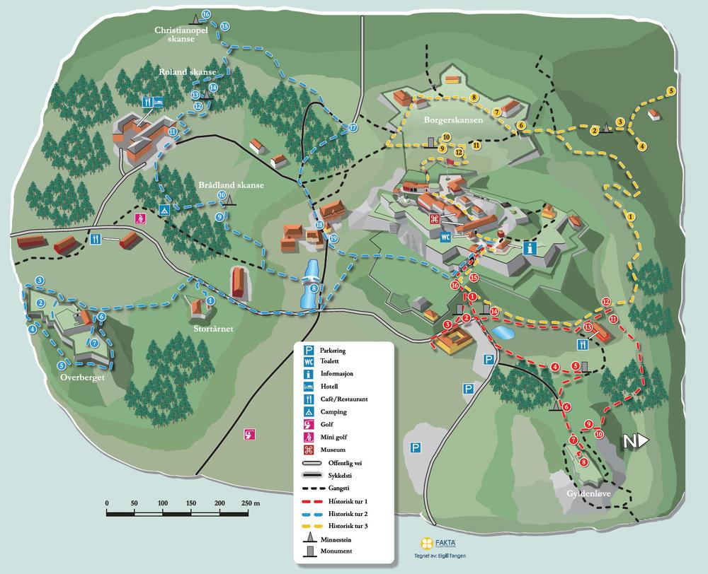 Kart: Forsvarsbygg /Fredriksten festning - tegnet av Egil Tangen