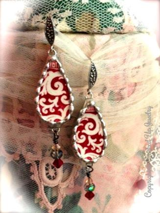 Broken china tear drop earrings, made using antique china from the mid 1850's. Paired with wonderful sterling silver marcasite & crystals.