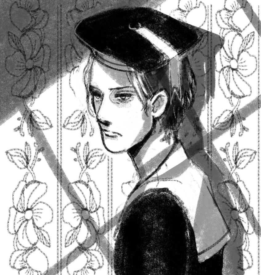 young oberstein in a sailor outfit (unreferenced) looking out a window in front of some gaudy wallpaper.png