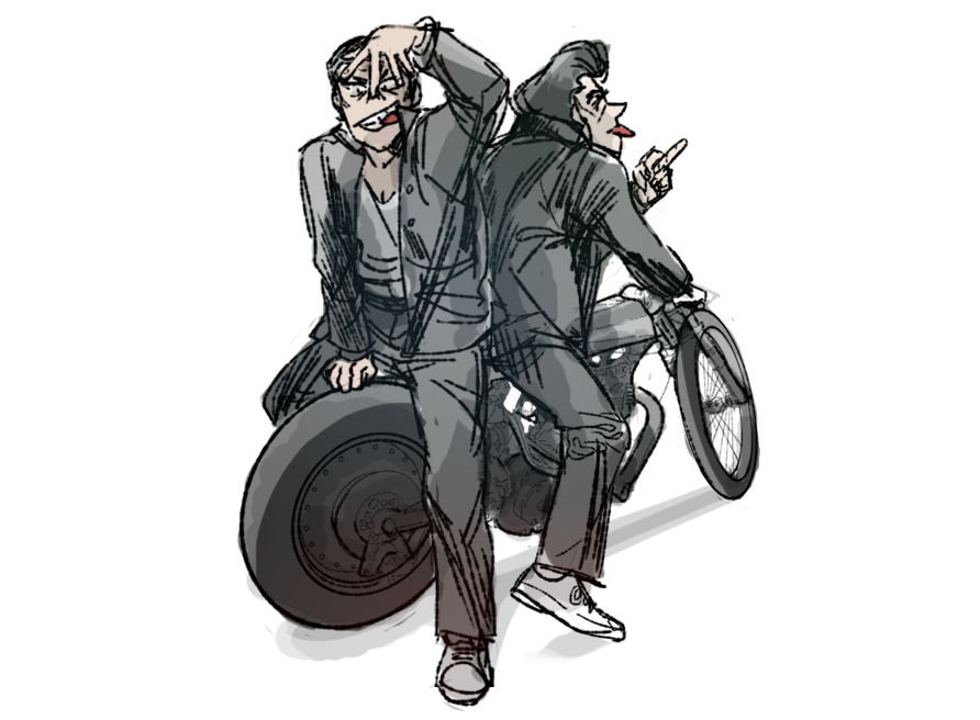 REBELS   I can't draw motorcycles or bikes or anything so I used  this image  from this  blog post
