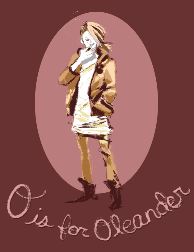 i forgot i had this around. it had been so long in between the first ones and this one though that i just went in my own direction and it doesnt match the others haha.   O is for Oleander. Ill totally finish this OC alphabet someday.