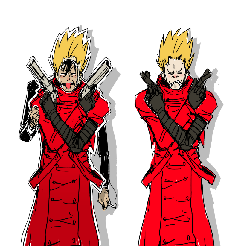 im sick so i drew some trigun to cheer me up