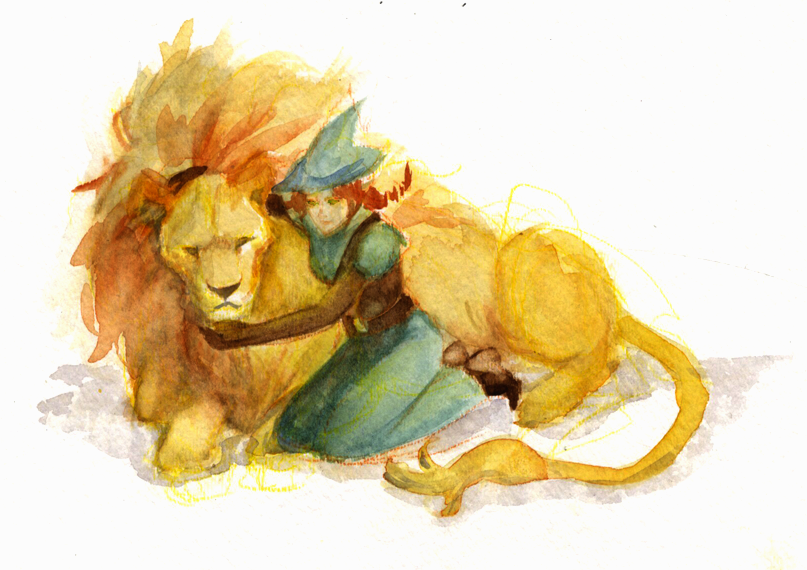 Bee's D&D character, Arden Lockwood, Lvl 7 Elf Ranger and her Lion, Napoleon.