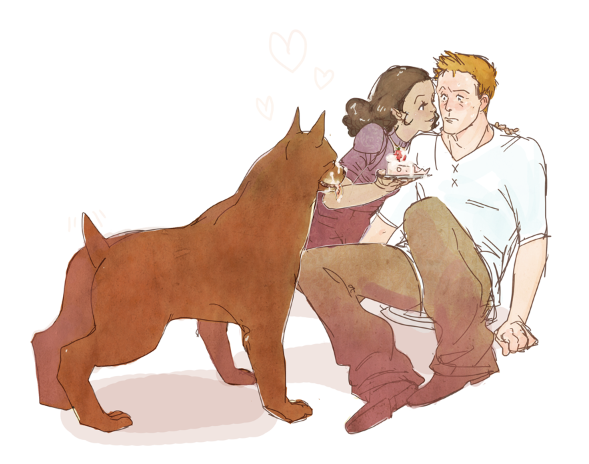 for my cousin's birthday - her as the human noble with Alistair. Dragon Age fanart.