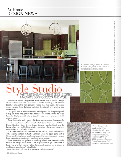 "At Home in Arkansas. March 2011. ""At Home-Design News""."