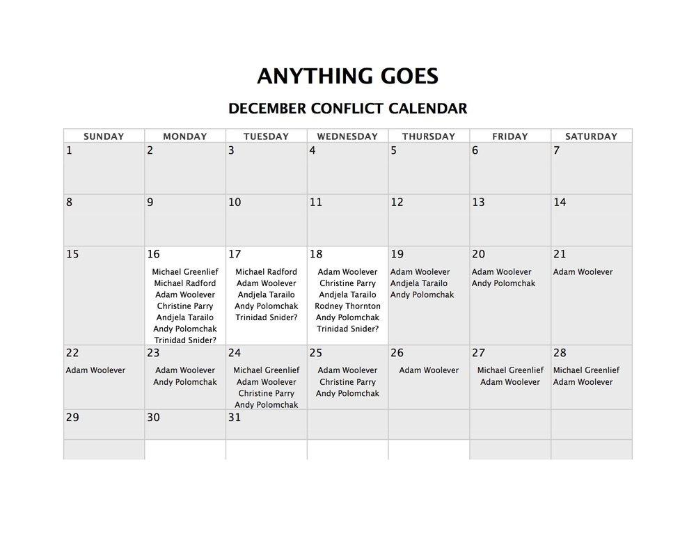 Conflict Calendar