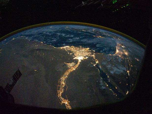 Life along the Nile River at night/Picture from NASA