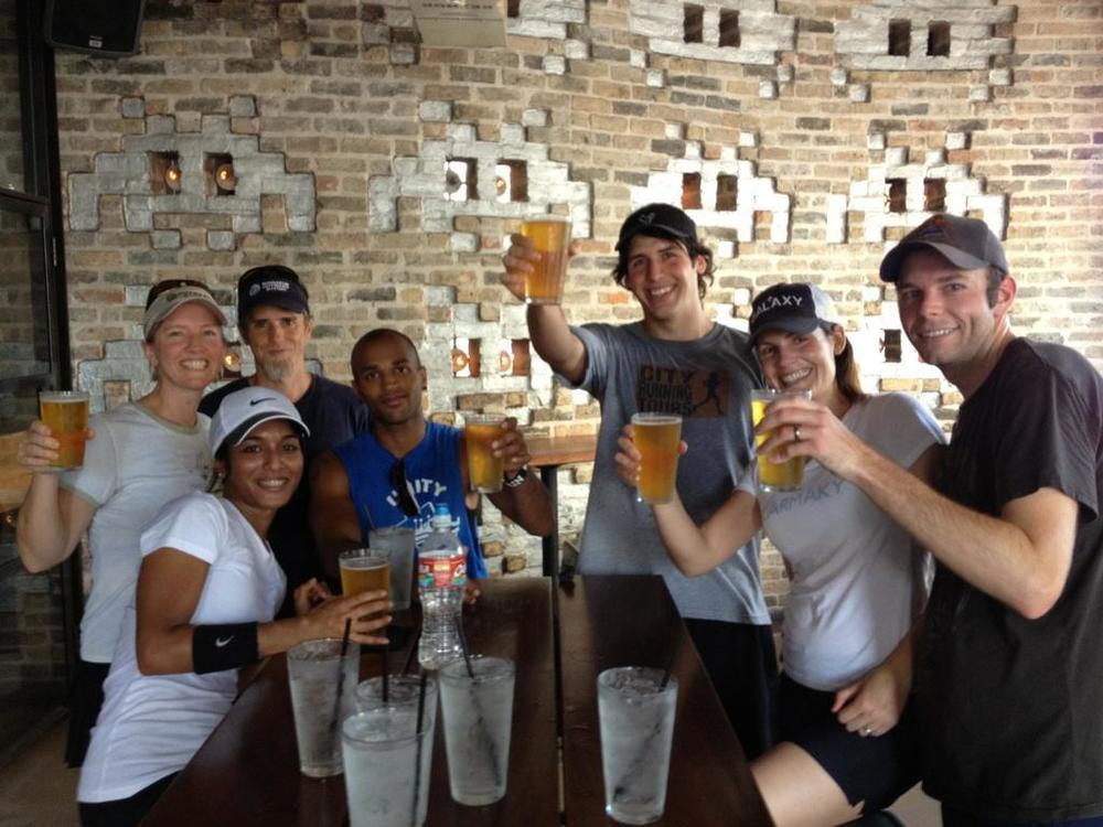 Group in Austin enjoying the reward of the run on the TEXAS BEER RUN
