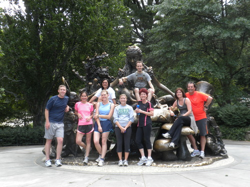City Running Tours New York City  has taken this group to the Alice in Wonderland Statue on the north end of the Conservatory Boat Pond in Central Park.