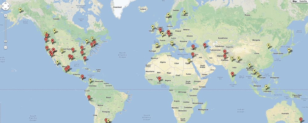 Click to see an interactive map of places Michael has worked and traveled to.