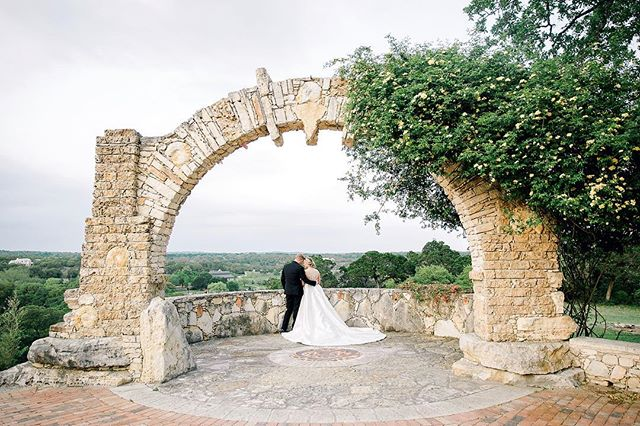 Ally and Tyler soaking in the Texas Hill Country views after they said I do ✨ • Venue: @camplucyoncreek  Coordinator: @muchadoaustin  Florals: @whimhospitality  Hair & Makeup: @lolabeautyatx  Wedding Dress: @whittingtonbridal  Groom's Suit: @theblacktux