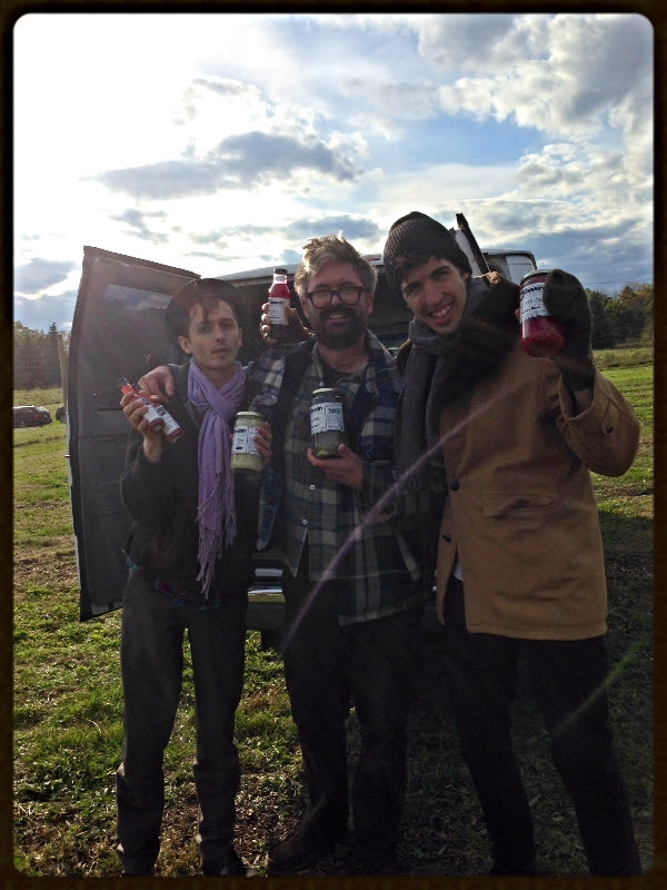 Brandon andAndrewreceive goodies fromDavey of the Brinery before Oct. Tour #backinbed