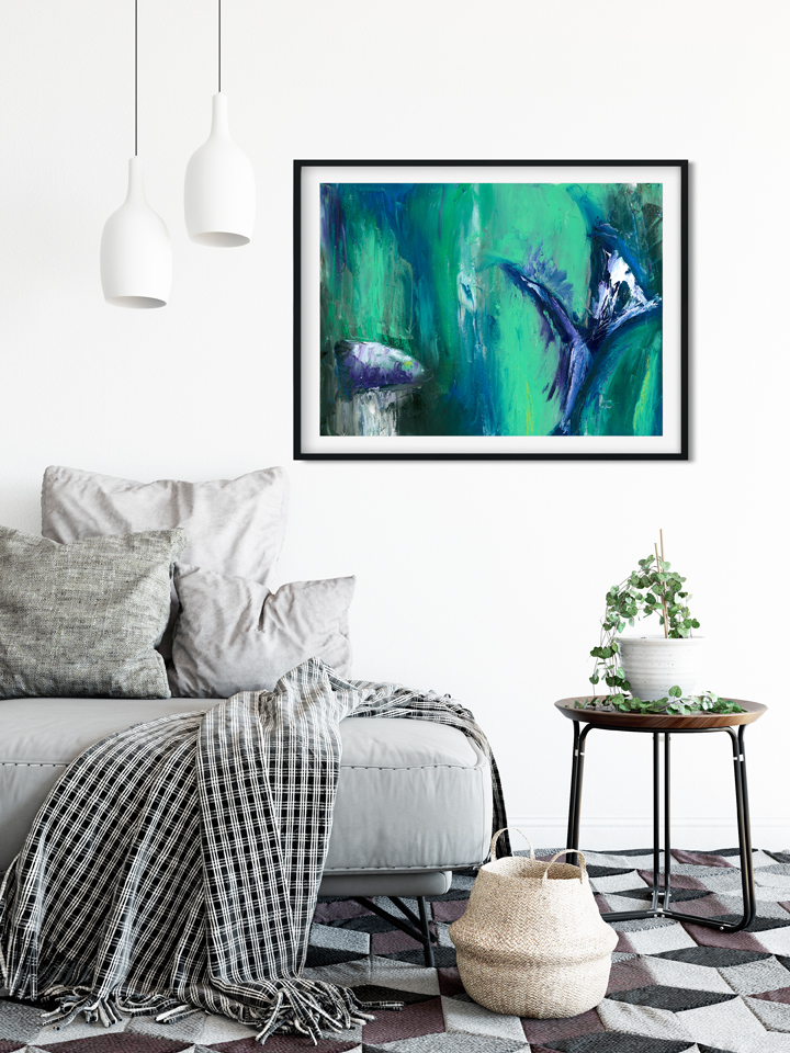 Green and purple abstract painting in living room