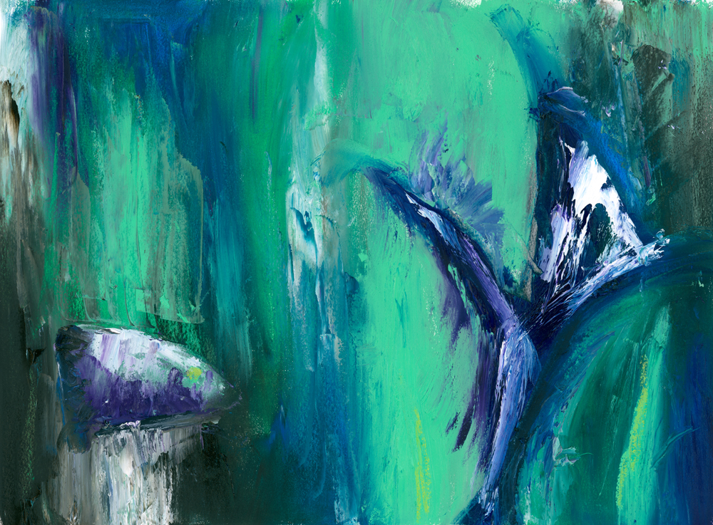 "Abstract painting in green - ""The sun will sing"""