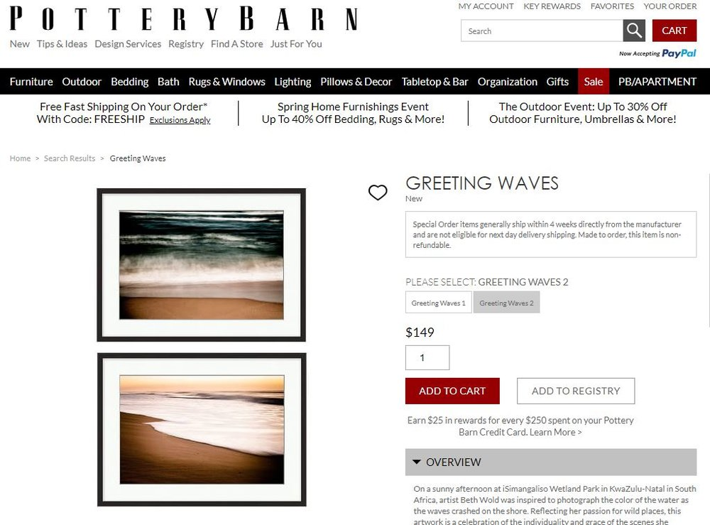 My photographs on Pottery Barn's website