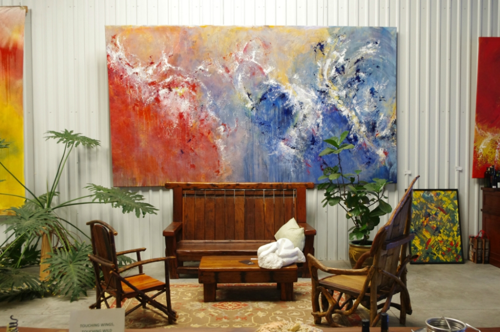 Paintings by Lyn Jamey, Ben Frey- large reclaimed wood bench, driftwood chairs by Candida Sanlorenzo