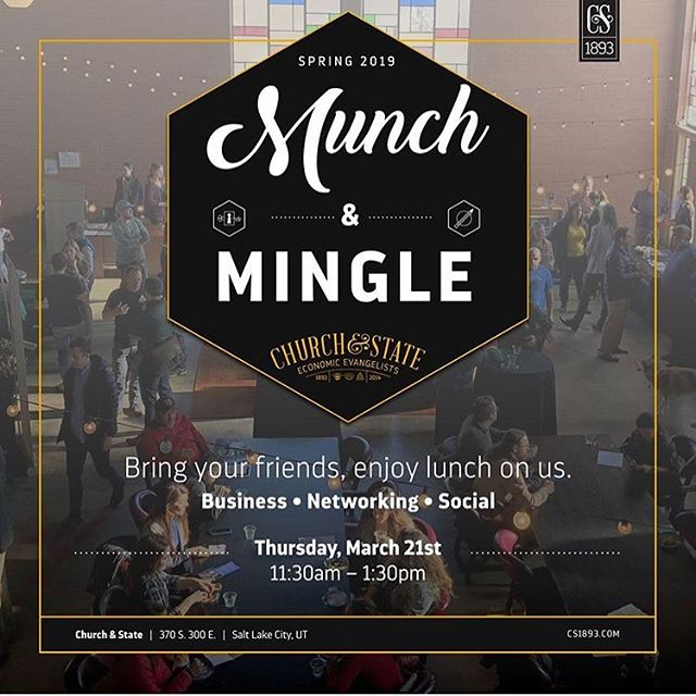 Mark March for Munch & Mingle! #letsmeet #letseat #networking #coworking #slc #utahbusiness