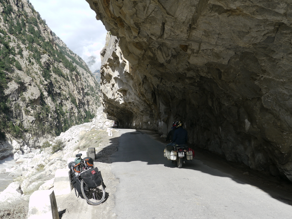 The road is carved out of the side of the mountain. In some places just enough to fit a truck through!