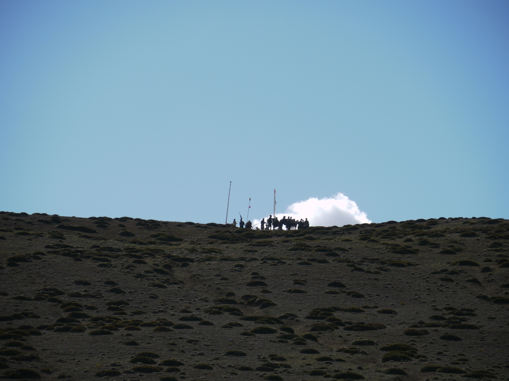 We heard rumors that there might be a horse race around the lake - and then they appeared on the top of the mountain.