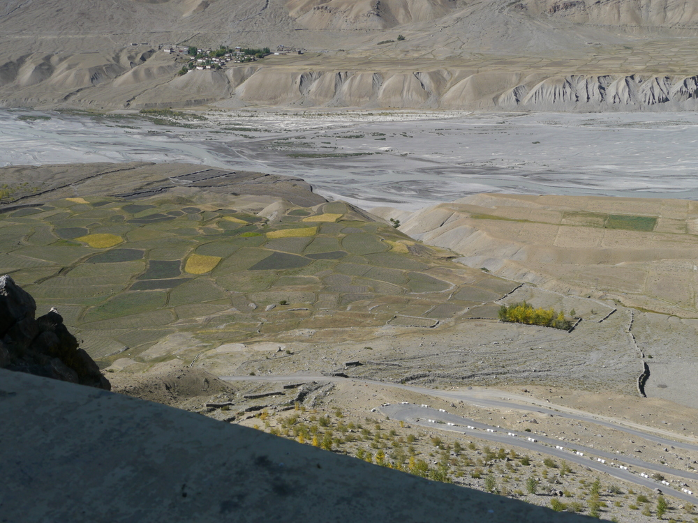 The view looking down into the valley from Ki Monastery.
