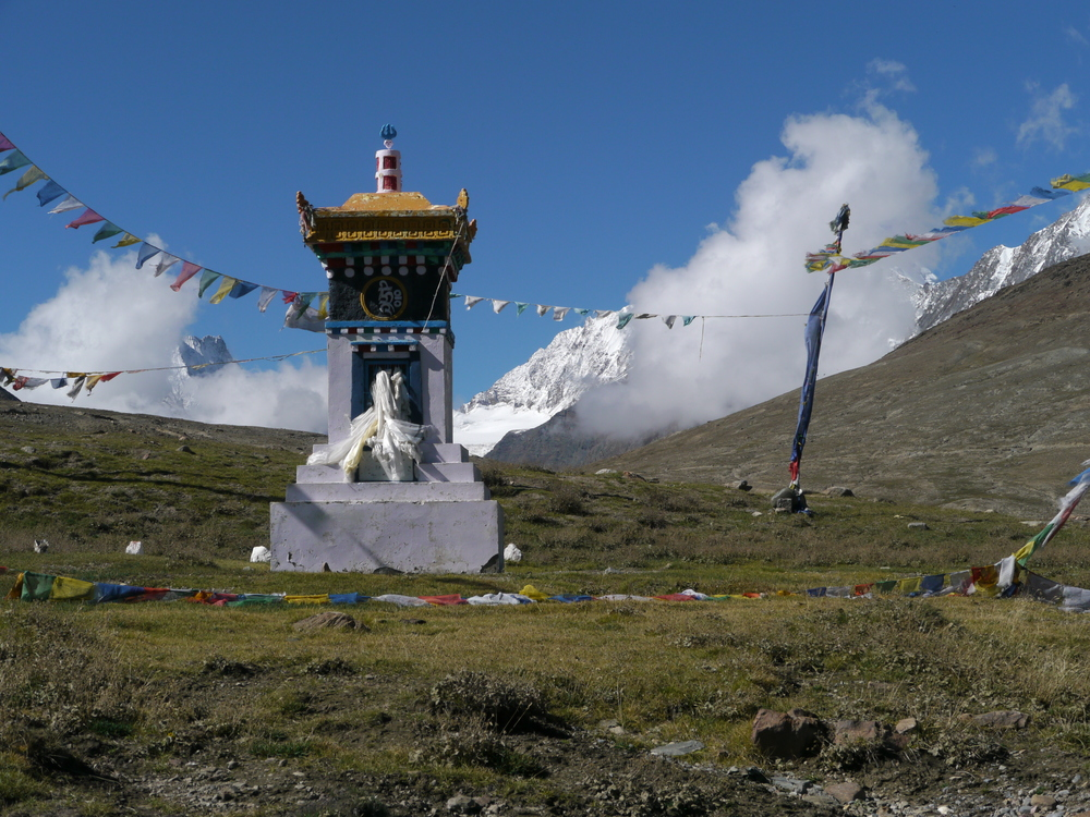 Buddhist Chorten marks the approach to the summit.