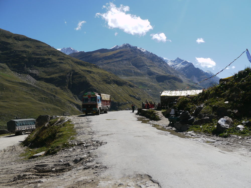 Lots of trucks to contend with on the climb up Rohtang La