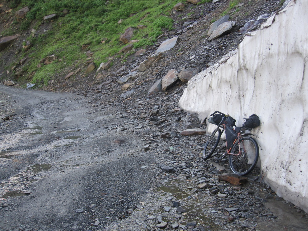 As I gain altitude there is remnents of the snow which blocks this road for most of the year.