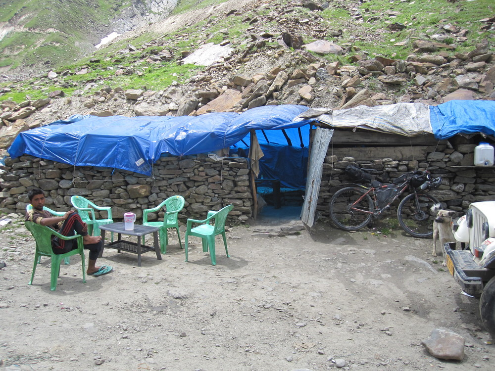 The only services for the day - a makeshift restaurant serving up Two Minute Noodles and Chai.