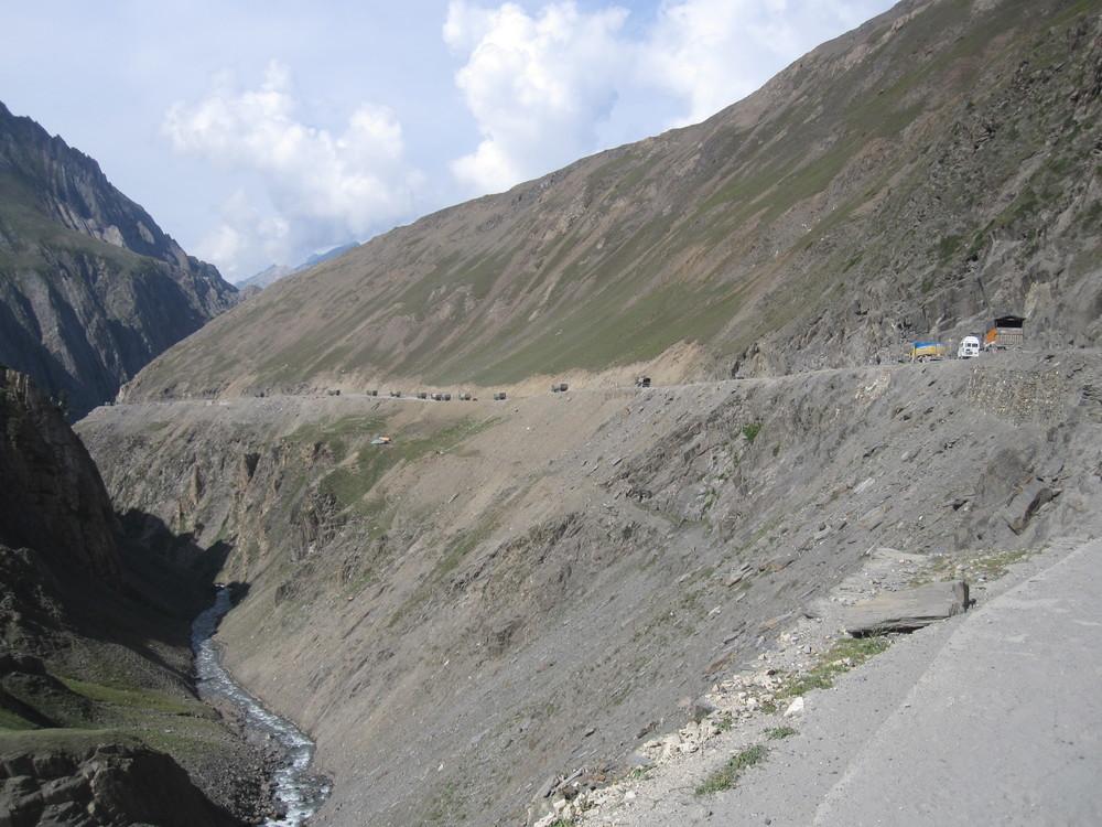 Military Convoy on the descent of Zoji La.