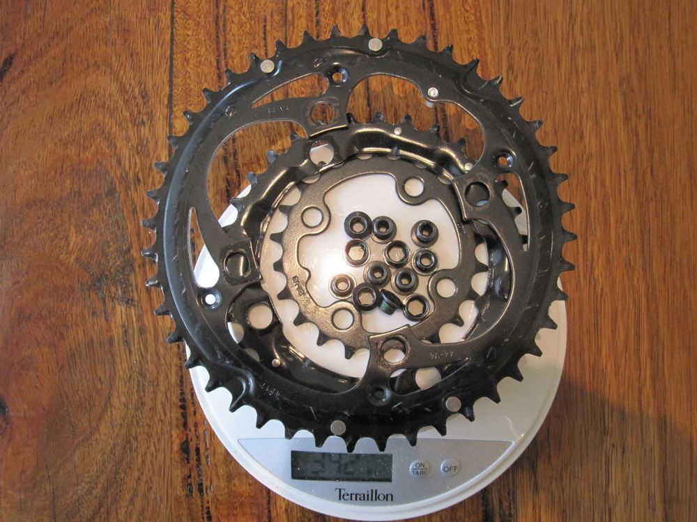 Stock triple chainring with bolts - 342 grams