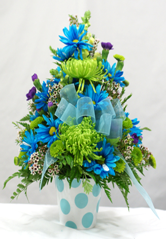 Baby Boy Container Arrangement Orchard Hills Floral Gifts