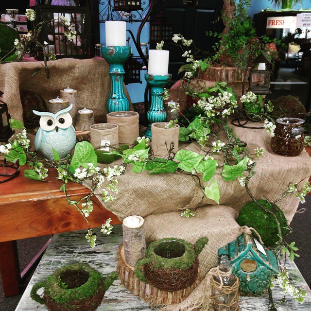 Some goodies at the shop right now. Come in if you love owls, burlap or aqua.