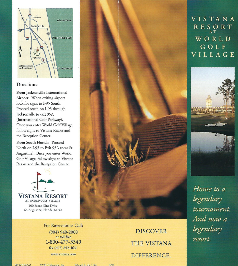 World Golf Village Rack Card Client: Vistana Resort Product: Promotional rack card