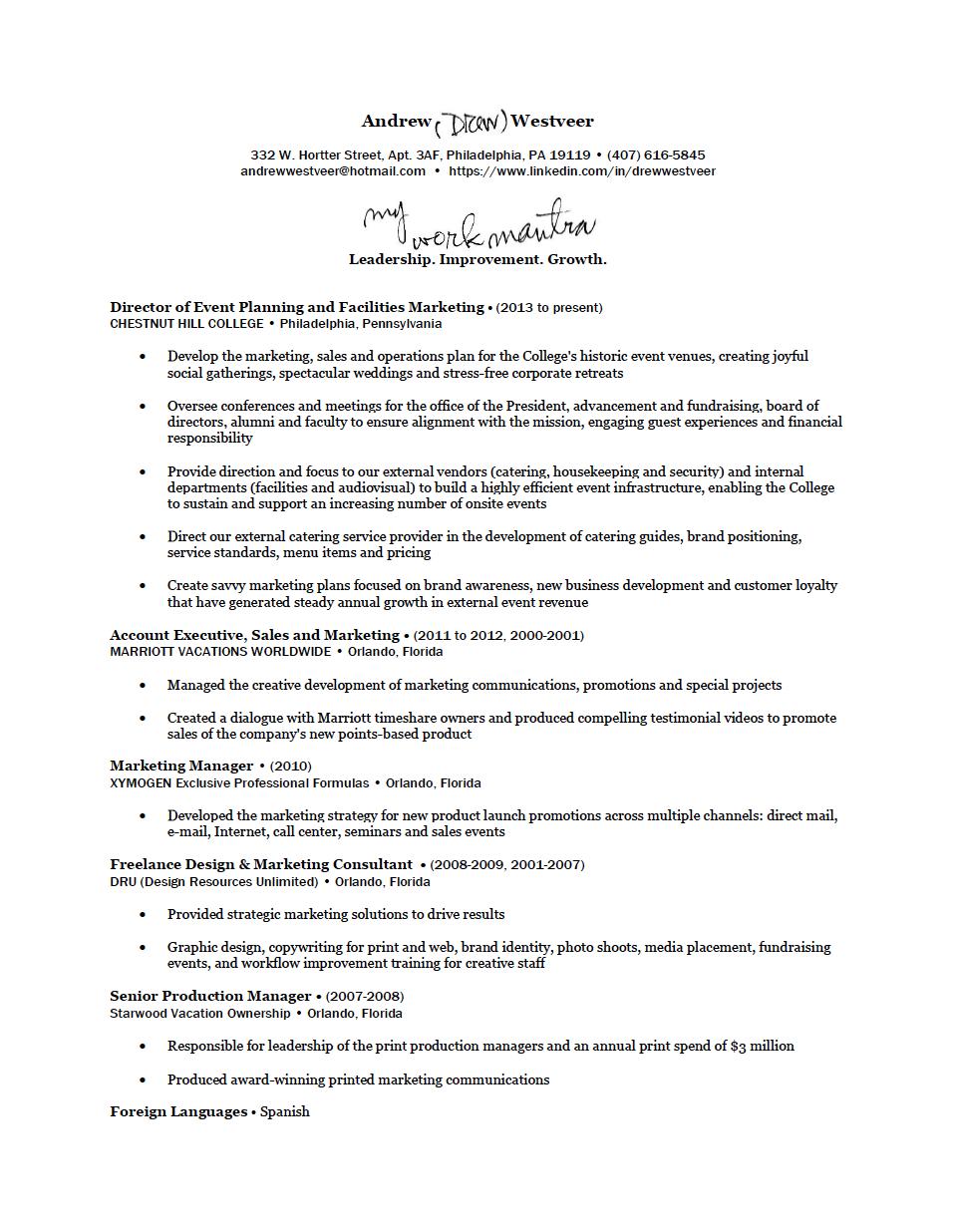 Drew Westveer's Resume