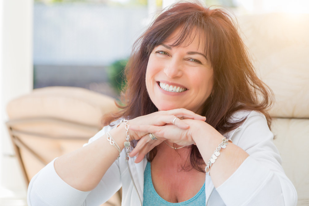 Smiling client