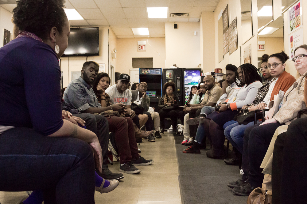 Community discussion on Black Labor @ Carters Barbershop :: Westside, Chicago : IL - Photo Credit: Nicole Harrison