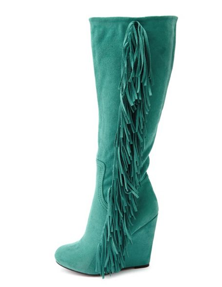 Charlotte Russe Sueded Fringe-Trim Wedge Boot.jpg