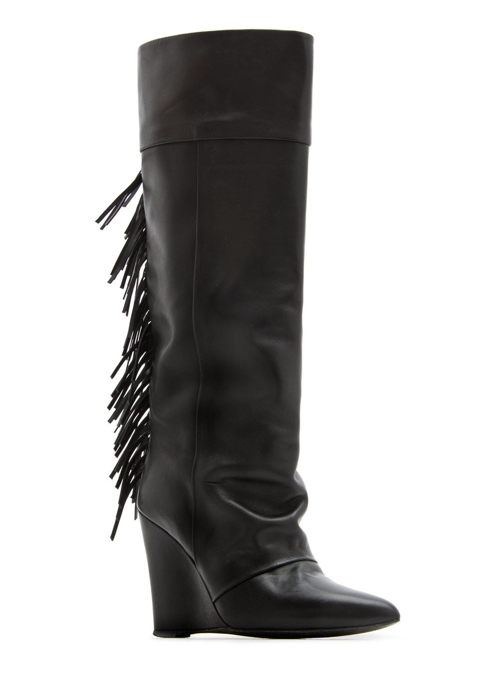 Mango Fringed Leather Wedge Boots.jpg