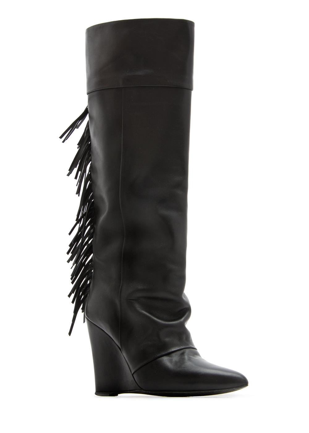 Mango Fringed Leather Wedge Boots.jpg