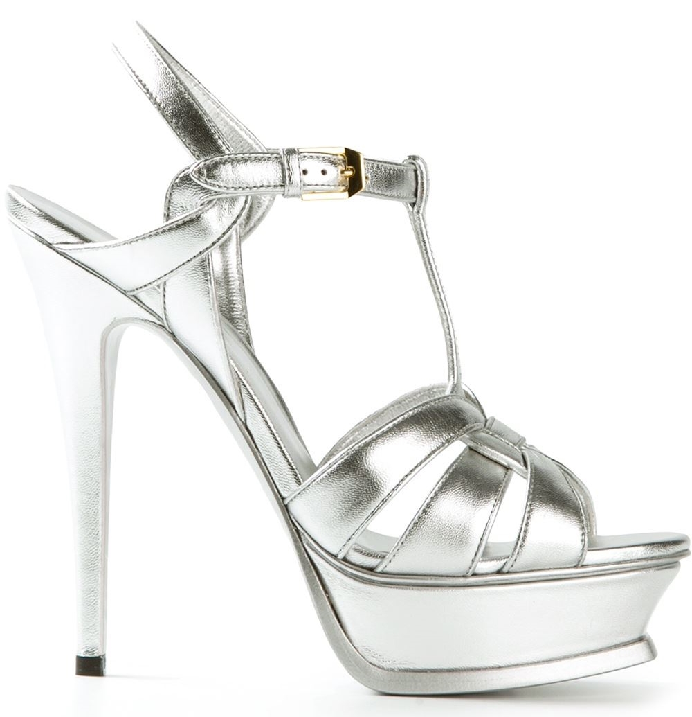 "The YSL Classic Tribute heel.  Always a great option.  I love this silver with a white dress. Nice touch of unique!  Secure √ :: Material √ :: 4.5"" instep"